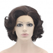 Short Curly Dark Brown Mix . Lace Front Wig