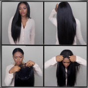 Maycaur Long Straight Hair Wigs Black Colour Synthetic Lace Front Wig 50cm