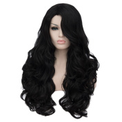 QIYUN.Z Women's Long Anime Costume Brown Hair Full Head Wigs Natural Curly Wavy Cosplay Party Hair Wig