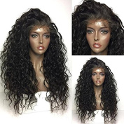 Maycaur 180 Density Curly Synthetic Lace Front Wig Black Colour Loose Curly Hair wigs 70cm