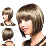 Hrph Fashion Women Heat Resistant Synthetic Wig Sexy Natural Short Bob Hair Wigs for Cosplay