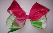 20cm Hair Bow with Clip Pin Rainbow Double shade with Diamonds