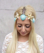 Mint Green Gold Real Starfish Sea Shell Headband Hair Crown Mermaid Costume 2486 *EXCLUSIVELY SOLD BY STARCROSSED BOUTIQUE*