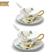 Touch Life Set of 2 Bone China Tea Cup Coffee Cup Set with Saucer and Spoon,Camellia,White and Green,With Gift Box