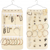 Double-Sided Hanging Jewellery Organiser 40 Pockets & 20 Hook-and-Loop Tabs Earrings Necklace Bracelet Wardrobe Storage Organiser Accessory Holder Storage Bag with Hanger