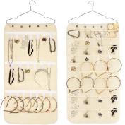 Double-Sided Hanging Jewellery Organiser 40 Pockets & 20 Hook-and-Loop Tabs Earrings Necklace Bracelet Wardrobe Storage Organiser Accessory Holder Storage Bag with Hanger