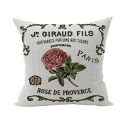 Nunubee Words Printed Soft Pillowcase Cotton Cushion Cover Square Decorative Home Accessories Rose