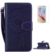 Samsung Galaxy S7 Edge Case [with Free Screen Protector],CaseHome Mandala Dreamcatcher Feather Pattern Folio Flip Magnetic Closure Wallet Design with Card Slot and Wrist Strap Stand Feature Shockproof Soft Rubber Bumper Protective Faux Leather Case Cov ..