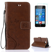 Microsoft/Nokia Lumia 650 Case [with Free Screen Protector],CaseHome Elegant Butterfly Flower Vine Pattern Folio Flip Magnetic Closure Stand Feature Wallet Design with Card Holder Slots and Wrist Strap Premium Synthetic PU Leather Protective Case Cover ..