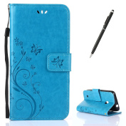 Microsoft/Nokia Lumia 530 Case [with Free 2 in 1 Black Stylus Touch Pen],CaseHome Elegant Butterfly Flower Vine Pattern Folio Flip Magnetic Closure Stand Feature Wallet Design with Card Holder Slots and Wrist Strap Premium Synthetic PU Leather Protecti ..