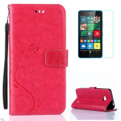 Microsoft/Nokia Lumia 640 Case [with Free Screen Protector],CaseHome Elegant Butterfly Flower Vine Pattern Folio Flip Magnetic Closure Stand Feature Wallet Design with Card Holder Slots and Wrist Strap Premium Synthetic PU Leather Protective Case Cover ..