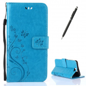 HTC A9 Case [with Free 2 in 1 Black Stylus Touch Pen],CaseHome Elegant Butterfly Flower Vine Pattern Folio Flip Magnetic Closure Stand Feature Wallet Design with Card Holder Slots and Wrist Strap Premium Synthetic PU Leather Protective Case Cover for H ..
