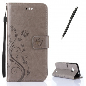 Microsoft/Nokia Lumia 550 Case [with Free 2 in 1 Black Stylus Touch Pen],CaseHome Elegant Butterfly Flower Vine Pattern Folio Flip Magnetic Closure Stand Feature Wallet Design with Card Holder Slots and Wrist Strap Premium Synthetic PU Leather Protecti ..