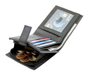 RAS Men's Black Soft Genuine Leather RFID Blocking Wallet Credit Card, Banknote Pocket & Zipped Coin Purse #44