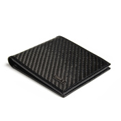 Carbon Fibre Wallet for Men Black Genuine Leather RFID Blocking Bifold with Gift Box