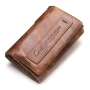 Contacts Womens Genuine Leather Card Key Holder Zipper Coin Clutch Purse Wallet