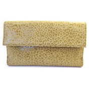 Leather wallet + chequebook holder 'Frandi' camel (leopard).