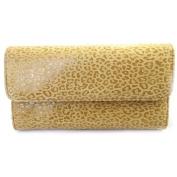 Leather wallet + chequebook holder 'Frandi' camel (leopard).