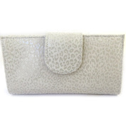 Leather chequebook holder 'Frandi' mouse grey (leopard).