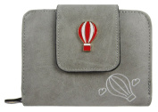 Kukubird Faux Leather With Hot Air Baloon Detail & Badge Medium Ladies Purse Clutch Wallet