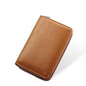 MuLier Genuine Leather Card Case Wallet Thin Zipper Card Wallet Purse