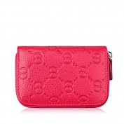MuLier Primely Zipper Around Genuine Leather Credit Card Holder Coin Purse Womens Card Case with Embossed Pattern