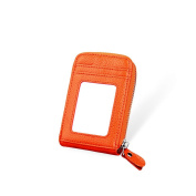 MuLier RFID Blocking Genuine Leather Credit Card Case Holder with Front ID Window
