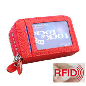 MuLier Genuine Leather RFID Blocking Coin Pouch Card Holder Wallet - Prevent Electronic Credit Card Scan Theft Red