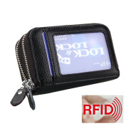 MuLier Genuine Leather RFID Blocking Coin Pouch Card Holder Wallet - Prevent Electronic Credit Card Scan Theft Black