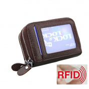 MuLier Genuine Leather RFID Blocking Coin Pouch Card Holder Wallet - Prevent Electronic Credit Card Scan Theft Coffee