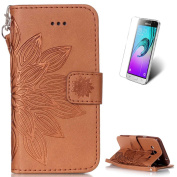 Samsung Galaxy J3 2016/J3 2015 Leather Wallet Case [with Free Screen Protector],KaseHom Mandala Lotus Flower Pattern Design Embossed Book Style Folio Flip Magnetic Closure Stand Function with Card Slots and Detachable Wrist Strap Synthetic PU Leather P ..