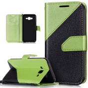 Galaxy J7 Case,Galaxy J7 Cover,ikasus Hit Colour Collision Premium PU Leather Fold Wallet Pouch Case Wallet Flip Cover Bookstyle Magnetic Closure with Card Slots & Stand Function Protective Case Cover for Samsung Galaxy J7 SM-J700 (2015),Green