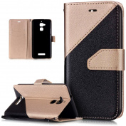 Asus Zenfone 3 Max Case,Asus Zenfone 3 Max Cover,ikasus Hit Colour Collision Premium PU Leather Fold Wallet Pouch Case Wallet Flip Cover Bookstyle Magnetic Closure with Card Slots & Stand Function Protective Case Cover for Asus Zenfone 3 Max ZC520TL 5. ..