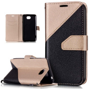 Huawei Y5 II Case,Huawei Y5 II Cover,ikasus Hit Colour Collision Premium PU Leather Fold Wallet Pouch Case Wallet Flip Cover Bookstyle Magnetic Closure with Card Slots & Stand Function Protective Case Cover for Huawei Y5 II,Gold