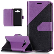 Galaxy J5 Case,Galaxy J5 Cover,ikasus Hit Colour Collision Premium PU Leather Fold Wallet Pouch Case Wallet Flip Cover Bookstyle Magnetic Closure with Card Slots & Stand Function Protective Case Cover for Samsung Galaxy J5 (2015) SM-J500F (13cm ),Purple