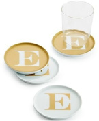 "The Cellar Gold Initial Coasters Collection Porcelain Set of 4 Initial ""E"" Coasters"