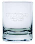 Mark Twain Quote Etched 330ml Stolzle New York Crystal Rocks Glass