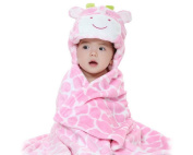 DSstyles Swaddle / Receiving Wrap Hooded Snuggle Baby Blanket Soft Animal Designs Polyester Micro-polar Fleece Kids Blanket for 0-2 Years Old Boys or Girls - Pink Cow