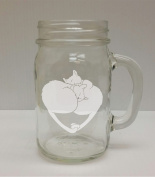Cat Heart, Kitty Heart, Cat Lover 470ml Glass Mason Jar - Hand Etched - Made in the USA, Great for gifts