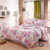 Simple Style Bedding Four Sets Of Double-Sided Autumn And Winter Silk Grinds Super Soft Skin (1 Quilt + 1Bed Sheets + 2pillowcase) , 3 , 220*240