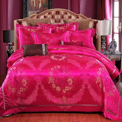 European Style Bedding Four Sets Of Cotton Satin Wedding Zhen Cai Colour Embroidery Lace (1 Quilt + 1 Bed Sheet +2 Pillowcase) , 9 , 220*240