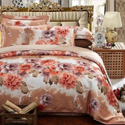 European Style Bedding Four Sets Of Sets Of Cotton Satin Gifted Silk Jacquard Wedding (1 Quilt + 1 Bed Sheet +2 Pillowcase) , 8 , 200*230