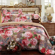 European Style Bedding Four Sets Of Sets Of Cotton Satin Gifted Silk Jacquard Wedding (1 Quilt + 1 Bed Sheet +2 Pillowcase) , 4 , 200*230