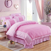 Korean Bed Linen Four-Piece Lace Princess Bed Skirt Simple Lace Student (1 Quilt + Bedspread * 2 Pillowcases) , 11 , 200*230
