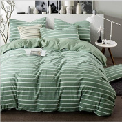 Japanese Style Bedding 3D Four-Piece Dyed Washed Cotton Plaid Wind Colour Double-Colour Stripes (For 1.5M-2M Bed) , 7 , 220*240