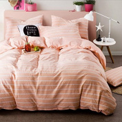 Japanese Style Bedding 3D Four-Piece Dyed Washed Cotton Plaid Wind Colour Double-Colour Stripes (For 1.5M-2M Bed) , 2 , 200*230