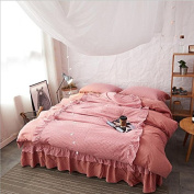 Korean Style Bedding 3D Four-Piece Set Of Washed Cotton Solid Colour Double Fight Lace Lace Bedspread Personality (For 1.5M-2M Bed) , 5 , 200*230