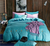 Simple Style Bedding 3D Four-Piece Cotton Double-Button Active Button Pure Colour Student Dormitory (For 1.2M-2M Bed) , 6 , 220*240