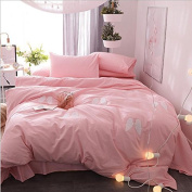 Nordic Style Bedding 3D Four-Piece Simple Plain Cotton Patch Embroidered Pure Colour Shuangpin (For 1.5M-2M Bed) , 9 , 200*230