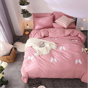 Nordic Style Bedding 3D Four-Piece Simple Plain Cotton Patch Embroidered Pure Colour Shuangpin (For 1.5M-2M Bed) , 8 , 220*240